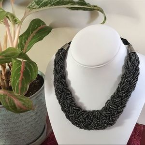 Jewelry - Black braided seed bead collar necklace